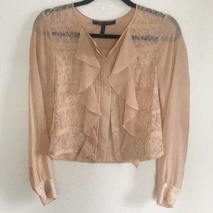 BCBG MAX AZRIA lace ruffle blouse